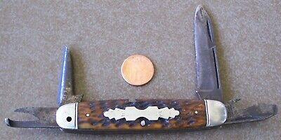 "Vintage NEW YORK KNIFE CO. ""ARMY KNIFE"" Pocket Knife HAMMER BRAND Jigged bone"