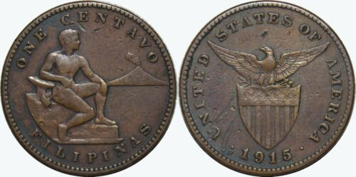 1915-S US/Philippines 1 Centavo ~ VF/XF Details ~ Key Date Filler ~ A#2.13 ~MX71