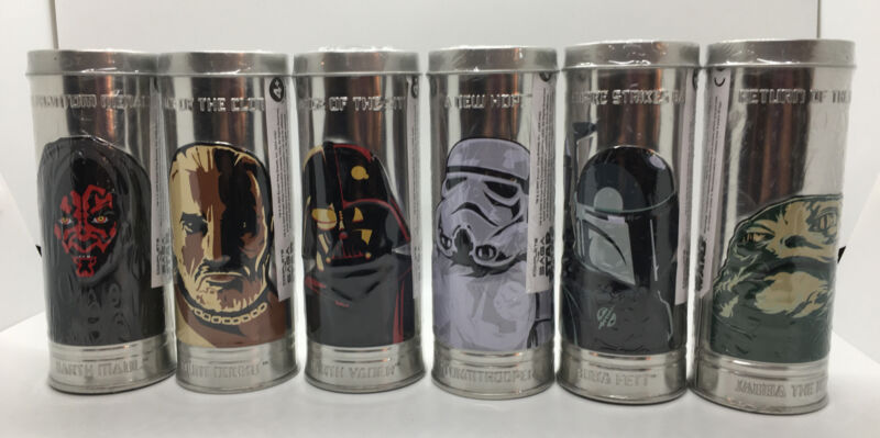 "2005 ""The Saga"" Star Wars-Complete Set 6 Burger King Watches-Sealed Original Tin"