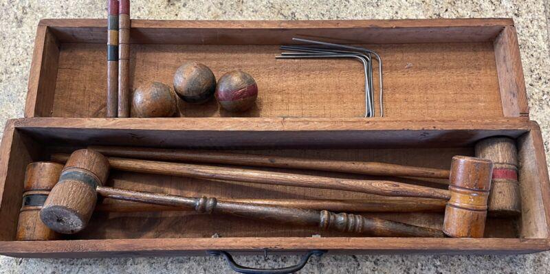Vintage Antique Rare Wood Box Croquet Set With Balls, Mallets & Stakes w/ Case