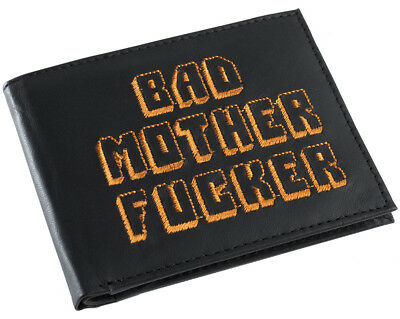 Black and Orange Embroidered BMF (Bad Mother Fu**er) Pulp Fiction Leather Wallet