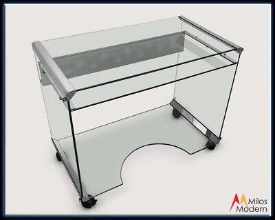60s Italian Modern Design Movie Office Computer Desk Glass Steel Modular Italy