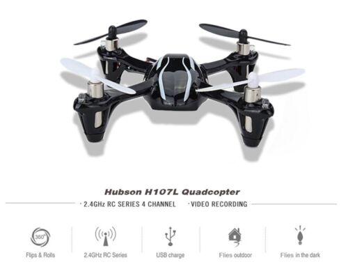 Hubsan X4 H107L 2.4GHz 4CH RC Quadcopter with LED Lights RTF, Black/White MA