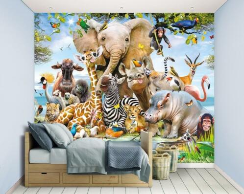 Dieren Behang Kinderkamer : ≥ nieuw jungle safari behang jungle dieren behang lijm