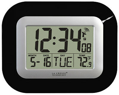 WT-8005U-B La Crosse Technology Atomic Digital Wall Clock IN Temp - Refurbished ()
