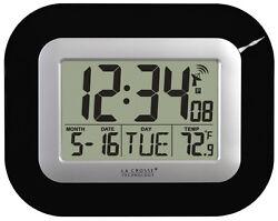 WT-8005U-B La Crosse Technology Atomic Digital Wall Clock IN Temperature & Date