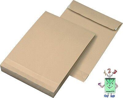 Versandtaschen / Faltentaschen C4 40mm Falte braun für DIN A4, 100 Stück