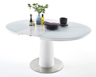 AGISO Glastisch Tisch Esstisch Esszimmertisch Küchentisch Rund silber Chrom