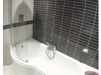 White bath and shower screen