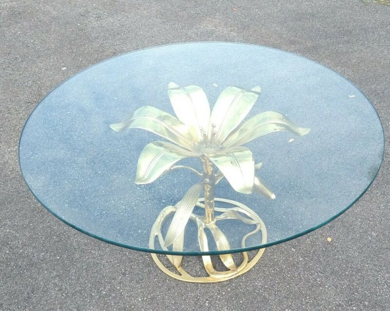 """Arthur Court (?) Brass Gold Color Lily Flower Table Glass Round Top 36"""" Vintage"""