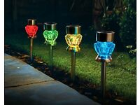Set Of 4 Crystal Glass Effect Solar Lights