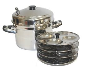 Tabakh IC-204 4-Rack Stainless Steel Idli Cooker with Strong Handles, Makes 16