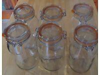 "KILNER Glass Clip Top Preserve/Dry Storage Jar 2 Litres 10"" (26cms) Tall"