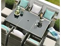 BNIB Grey rattan Dining table and chair cube set garden furniture