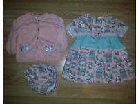 Spanish baby girls dress panties and cardigan