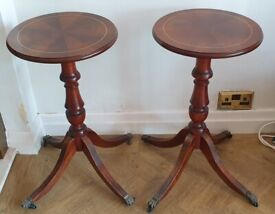 3 Round living room coffee/side tables, mohagany finish, rolling feet
