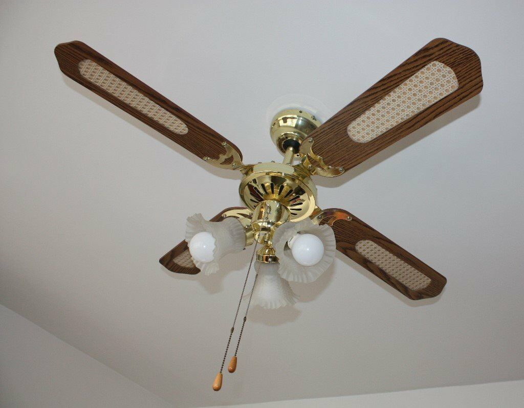 ceiling fan 4 blades. brass oak effect 3 speed ceiling fan with light lights 4 blades living room conservatory bedroom l