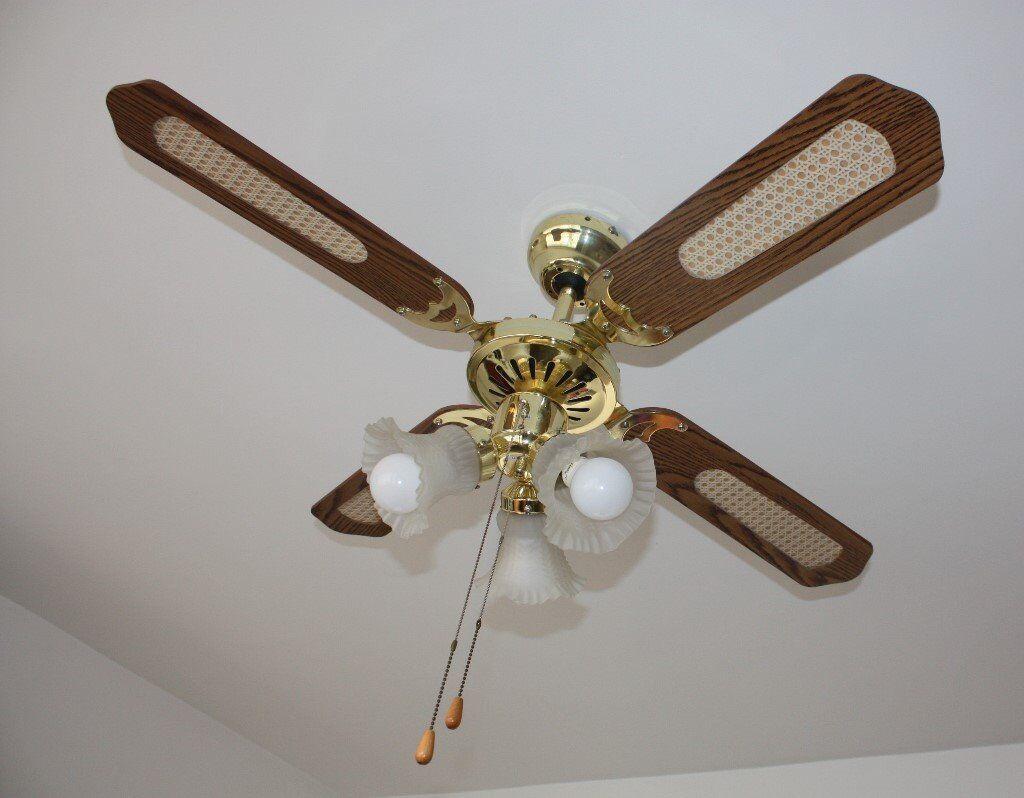 ceiling fan 4 blades. brass oak effect 3 speed ceiling fan with light lights 4 blades living room conservatory bedroom l
