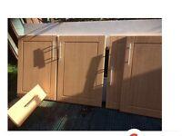 9 beech kitchen cupboard doors plus 1 draw,.