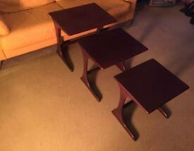 Set of 3 Dark wood Nest of tables (Lovely Shape)