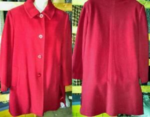 Oakville Womens 46 Busty Plus 18 20 XL XXL Car Coat RED Wool Blend Made in Canada Knee Lgth Fall & Winter Jacket
