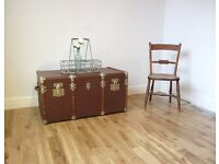 Vintage Bentwood Steamer Trunk / Coffee Table / Blanket Box