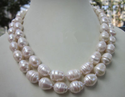 11-13MM WHITE FRESHWATER Cultured BAROQUE PEARL NECKLACE 18/24/28/35 (13 Mm Cultured Pearl)