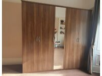 5 Door Wardobe with Mirror Dark Oak Style Wooden with Shelves