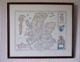 Framed print (copy of 1635 map of Scotland)