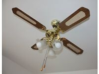 Brass Oak Effect 3 Speed Ceiling Fan with Light Lights 4 Blades Living Room Conservatory etc