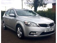 Silver KIA CEE'D Estate Car, lovely condition, low mileage