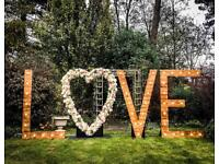 Rustic LOVE letter light hire for weddings
