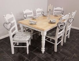 HUGE 6FT BY 3FT CHUNKY Shabby Chic Farmhouse Oak Table And Chairs