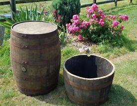 Solid oak half & whole ex-whisky barrels / planter / garden plant / flower pot / Vintage DIY