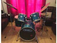 Mapex turquoise v series drum kit with Paiste cymbols, mapex stool, sticks & casing
