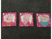 3x Peppa Pig canvas'