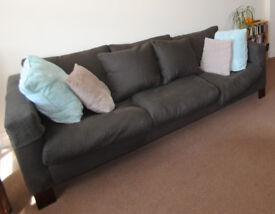 Stylish Habitat sofa - fully washable linen seat covers