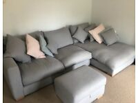 Large, mid grey, right arm chaise corner sofa, storage footstool and snuggle chair