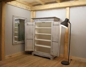 Reclaimed Wood Farmhouse Armoire $2195, Mirror $375. By LIKEN