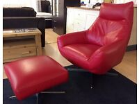 LEATHER MASTER - RED LEATHER + CHROME Modern Curved Style ARMCHAIR & FOOTSTOOL + FREE LOCAL DELIVERY