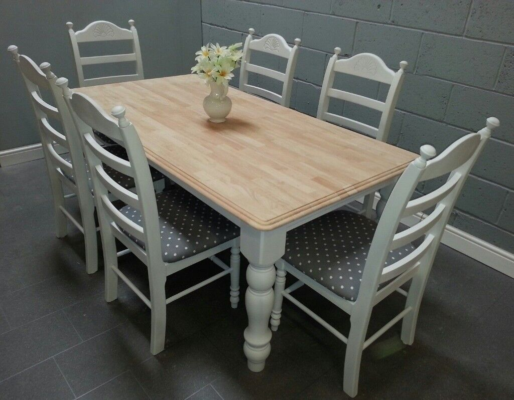 Astoundingly Beautiful Ft X Ft Shabby Chic Table Set Newly - 6ft dining table and chairs