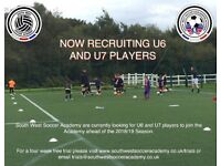 The South West Soccer Academy (SWSA) is currently recruiting U6 and U7 players.