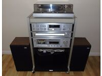 AKAI AM-U02 HIFI System with Turntable, Amplifier, Tuner, Tape Deck, Speakers and Cabinet.