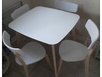 White kitchen wooden dinning table SET with 4 chairs seats