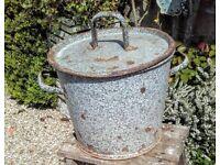 Vintage enamel bucket, planter, kindling