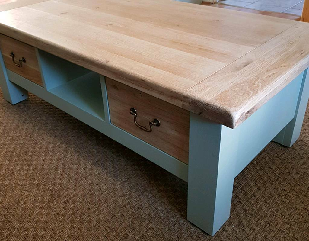 Solid Oak Coffee Table Push Pull Drawers Chic Farrow And Ball