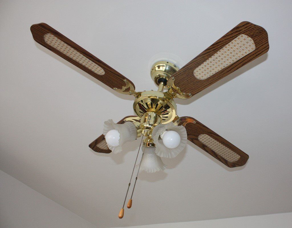 Brass Oak Effect 3 Sd Ceiling Fan With Light Lights 4 Blades Living Room Conservatory Etc