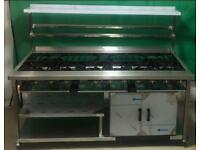 Gas cooker 9 burner commercial Indian curry restaurant cooker. New