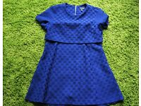 Blue Topshop dress with overlay top and cut out sides - Size 16 - Very good condition