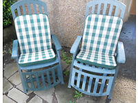 Pair of Recliners, Sun Loungers, Garden or Patio Chairs